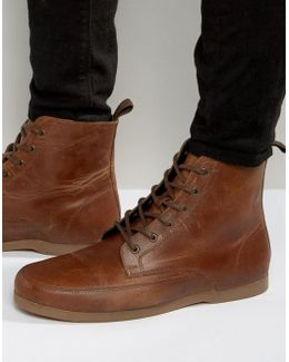 Lace Up Boot In Tan Leather With Gum Sole