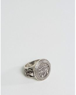 Ring In Burnished Silver With Egyptian Eye