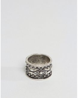 Ring In Burnished Silver With Geo Design