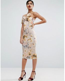 Tapestry Floral Bow One Shoulder Midi Dress