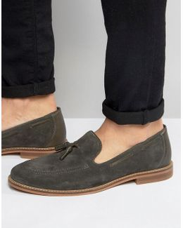 Tassel Loafers In Gray Suede With Natural Sole