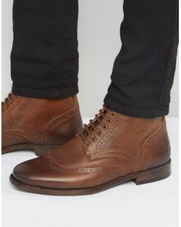 Brogue Boots In Tan Leather