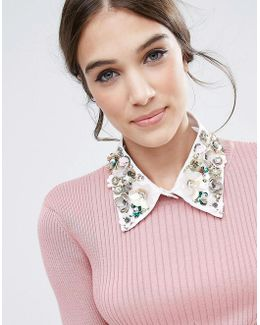 Flower Embellished Collar