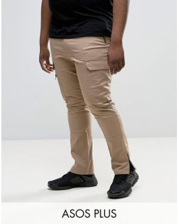 Plus Super Skinny Fit Pants With Zip Cargo Pockets In Stone