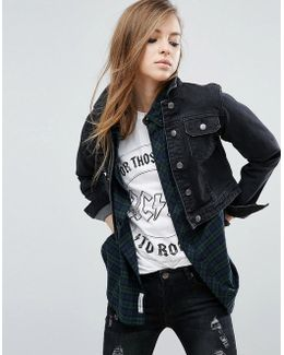 Denim Shrunken Jacket In Washed Black