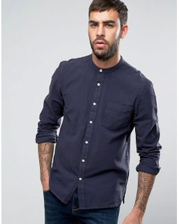 Regular Fit Textured Linen Look Shirt With Grandad Collar In Navy