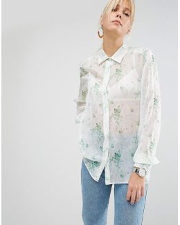 Blouse In Sheer Floral