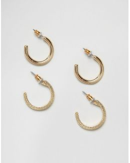 Pack Of 2 15mm Hoop Earrings