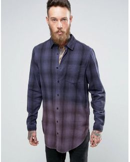 Oversized Check Shirt In Super Longline With Dip Dye