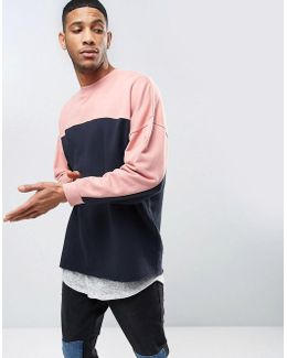 Oversized Longline Sweatshirt With Cut & Sew