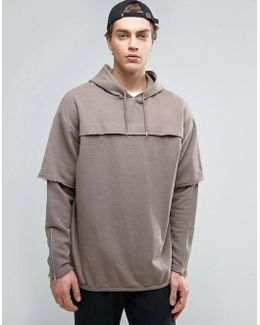 Oversized Longline Hoodie With Double Layer Sleeves