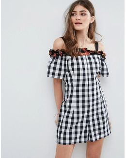 Gingham Floral Ruffle Romper