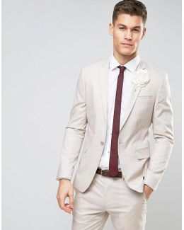 Wedding Skinny Suit Jacket In Stretch Cotton In Putty