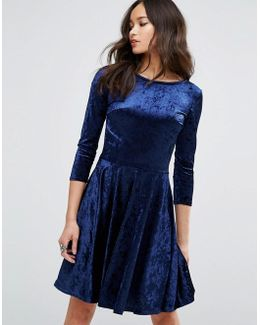 Velvet 3/4 Sleeve Skater Dress