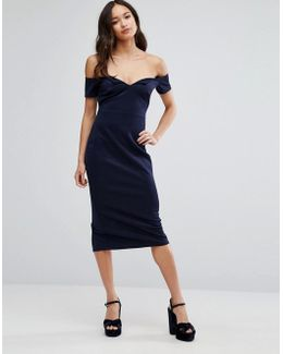 Office Bardot V Scuba Pencil Midi Dress