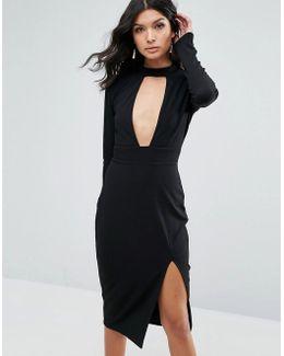 Choker Detailed Split Long Sleeve Midi Dress