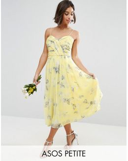 Wedding Rouched Midi Dress In Sunshine Floral Print