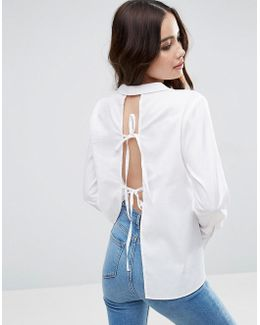 Open Back Shirt With Tie Back