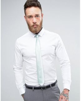 Wedding Skinny Shirt In White With Mint Tie Save