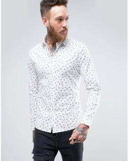 Skinny Shirt In Ditsy Geo Print