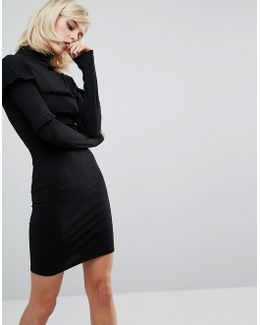 Bodycon Mini Dress With Frill Details