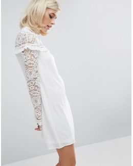 Lace Panel Shift Dress With Ruffle Detail