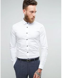Super Skinny Shirt In White With Contrast Buttons