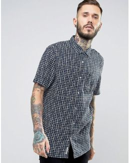 Square Print Shirt Short Sleeve Linen Slim Fit In Navy