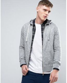 Basic Zip Thru Hoodie In Gray