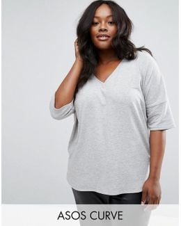 Oversized T-shirt In Rib With Dip Back