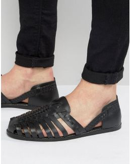 Woven Sandals In Black Leather