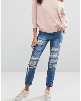 Riot Ripped High Rise Jeans With Emoji Print