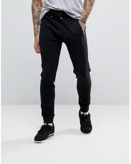 Skinny Joggers With Zips In Black