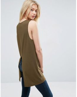 Sleeveless Rib Top With Split Back