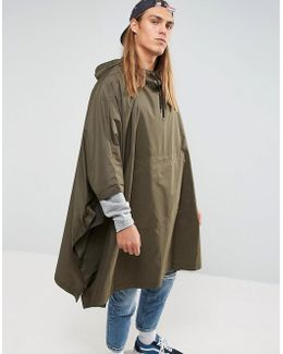 Packable Poncho In Khaki