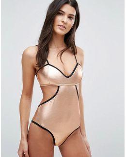 Metallic Cut Away Swimsuit