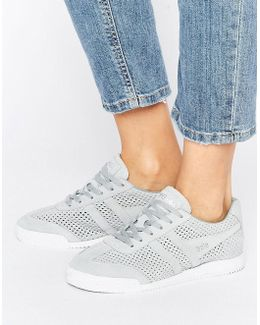 Harrier Pale Gray Perforated Suede Sneakers