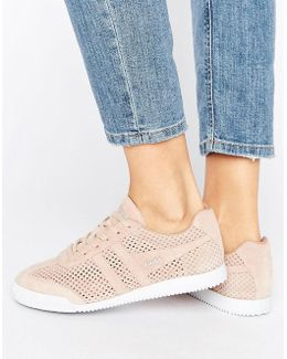 Harrier Blush Pink Perforated Suede Sneakers