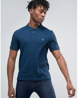 Waffle Polo Slim Fit Small Logo In Dark Denim