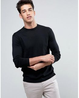 Jumper With Open Hem In Cotton Mix