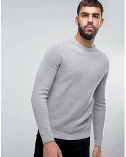 Jumper With Raglan Sleeve In Cotton Wool Mix