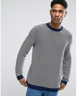 Jumper In High Neck With Stripe In Cotton Mix