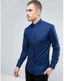 By Boss Emac Shirt Contrast Placket Slim Fit In Blue