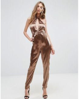 Hammered Satin Plunge Cut Out Jumpsuit