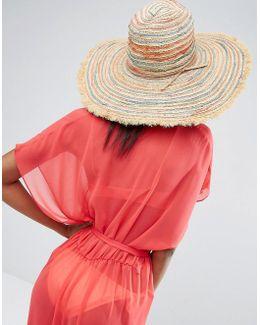 Stripe Fringed Beach Hat