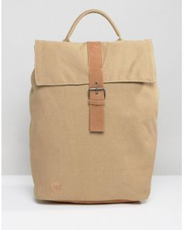 Day Pack Canvas Fold Top Backpack In Sand