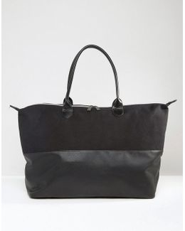 Canvas & Tumbled Faux Leather Contrast Weekender