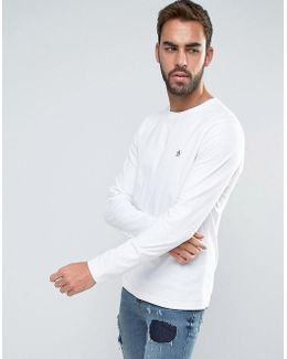 Long Sleeve Top Small Logo Slim Fit In White