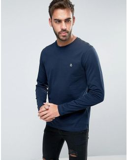 Long Sleeve Top Small Logo Slim Fit In Navy