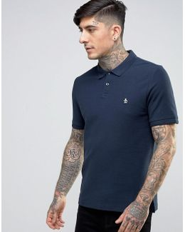 Winston Pique Polo Slim Fit Small Logo In Navy